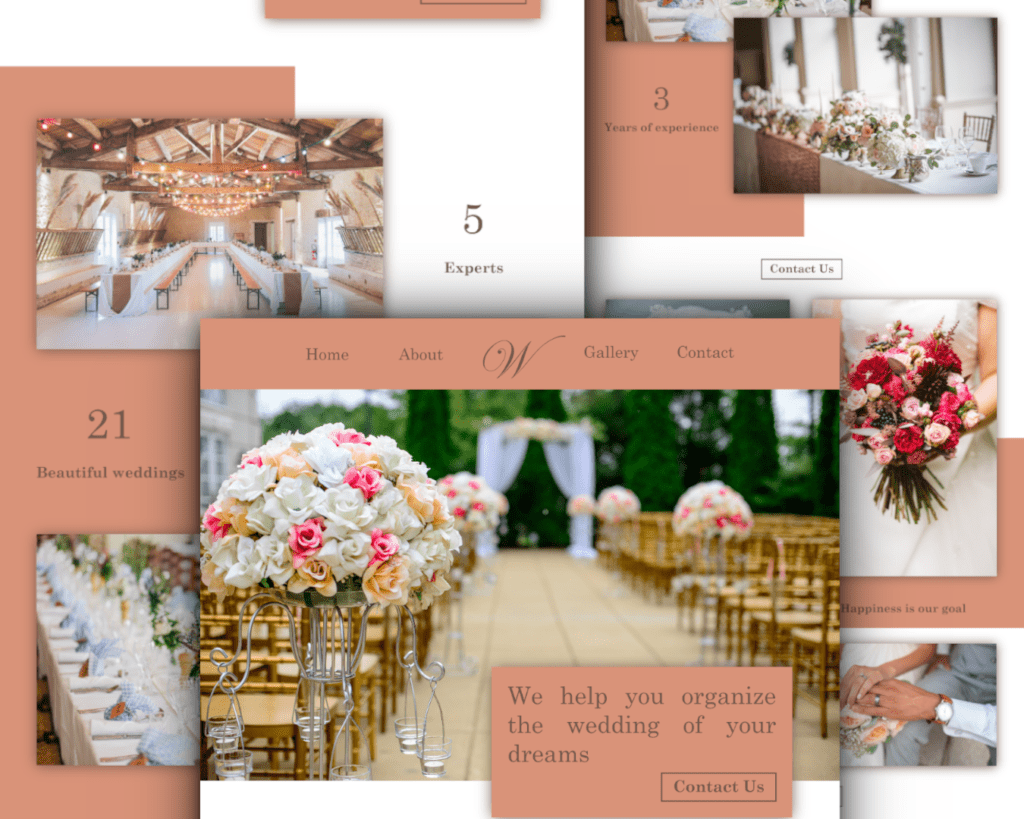 Esküvő webdesign - bemutató design - készítette PDIGITALFOX, Nyíri Péter